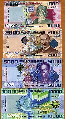 SET Sierra Leone, 1000;2000;5000;10000 Leones, 2010, Picks 30;31;32;33 UNC