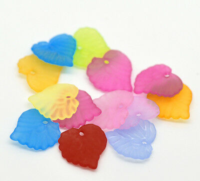 "1200PCs Mixed Frosted Acrylic Leaf Charms Pendants 15mmx15mm( 5/8""x 5/8"")"