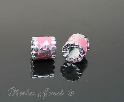 Baby Pink Barrel Number Numeral Sterling Silver Plate European Charm Spacer Bead