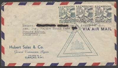 Curacao To Argentina Air Censor Cover 1941 Pair Stamps +1 L@@K