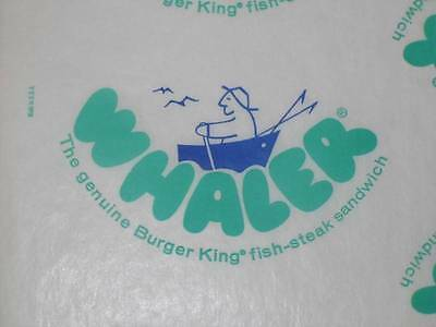 4 Vintage Retro Burger King WHALER printed fish Sandwich wraps 1970's 80's