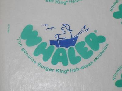 6 Vtg Retro Burger King WHALER printed fish Sandwich wraps wrappers1970's 80's