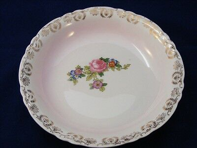 Rare Knowles Vitreous Serving Bowl Rose + Gold 262-7