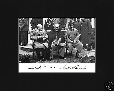 Franklin Delano Roosevelt FDR Churchill Autograph WWII Black Matted Photo
