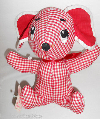 NWT Very Rare CHRISTY MFG CO. Cutie Red Plaid Mouse Puppy Dog Plush Toy A 7713