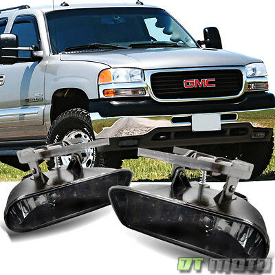 Smoked 99-06 Gmc Sierra Yukon Bumper Fog Lights Lamps Replacement Left+Right