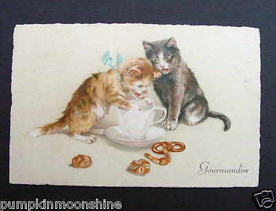 #F762- Vintage French Greeting Post Card Pair of Cats Drinking Milk & Pastries