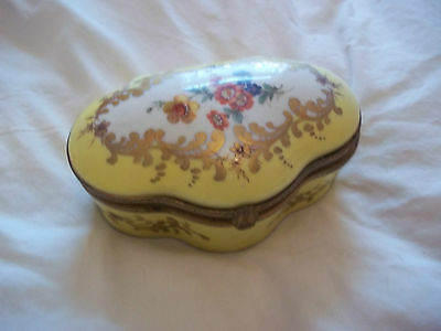 Limoges France Yellow Gilded Large Box / Boite