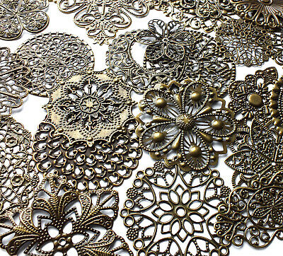 20 Quality Mixed Style/Size Antique Bronze Filigree Wrap Stamped Embellishments
