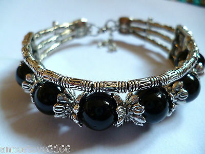 A Beautiful Black Onyx & Tibetan Silver Bracelet