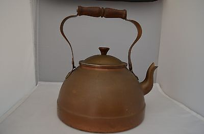 Vg Copper Metal Tea Coffee Pot Kettle w Lid and Wood Handle Made in Portugal