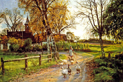 The Goose Girl Farm Scene Painting By Peder Monsted Repro