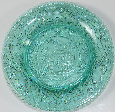 """Vintage Westmoreland Turquoise Glass 1861 American Eagle Pattern 3.5""""d Cup Plate"""