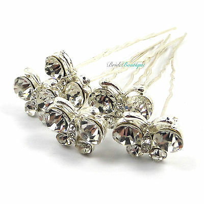 Bridal Wedding Silver Crystal Diamante Butterfly Large Hair Pins Clips HP07