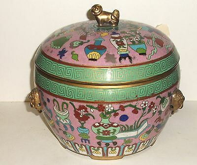 Rare Chinese Bronze Cloisonne Enamel Foo Dog Bowl Box From Audrey Meadows Estate