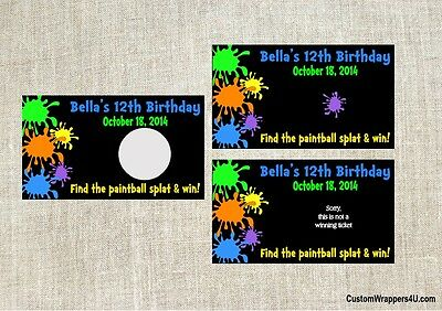 Paintball Birthday Party Scratch Off Cards Tickets Favors Personalized Custom