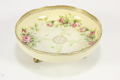 Footed Porcelain 'Prussia' Marked Candy Dish 3-Toed Roses Floral Design W/ Gilt