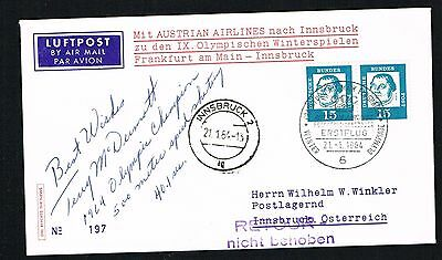 Terry McDermot signed autograph auto Postal Cover Olympic Speed Skater