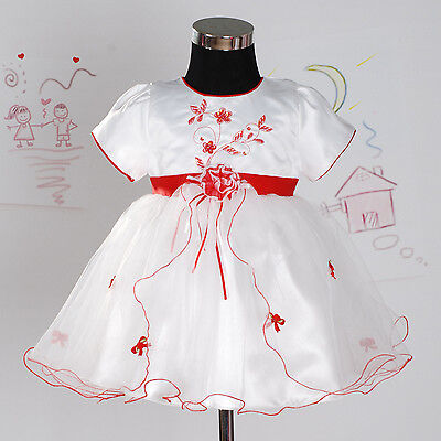 New White and Red Flower Girl Party Dress 6-9 Months