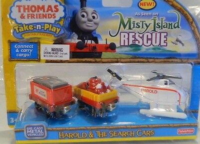 NEW Fisher-Price Thomas the Train Take N Play Harold & The Search Cars
