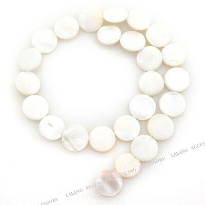 1strand 110541  White Oblate Disc Shell Bead Fit Jewelry Making 15mm