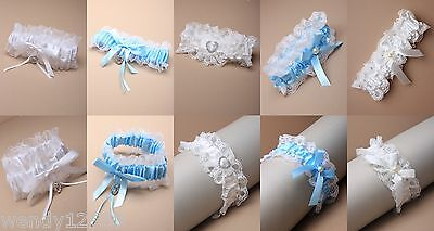 Deluxe Lace, Ribbon Wedding Garter - White, Ivory, Blue, Crystal, Bead, Heart