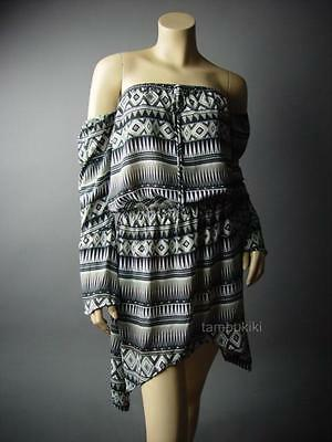 Black White Grid Geometric Print Chiffon Business Career Work Shirt 146 mv Dress