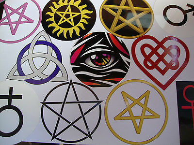 2 x ANCIENT SYMBOLS STICKERS MOJO  MAGIC LUCKY LOVE CHARMS FERTILITY PROTECTION