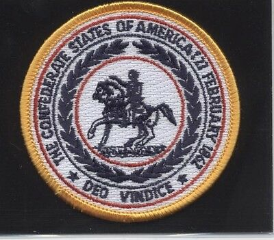 Rebel CSA Confederate States Seal/Crest Round Patch! Iron On! Dixie! NEW!!