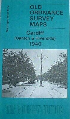 Old Ordnance Survey Map Cardiff Canton & Riverside Wales 1940 Godfrey Edition