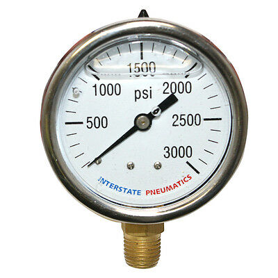 3000 PSI 2-1/2' Dial 1/4' NPT Bottom Mount Oil Filled Pressure Gauge G7022-3000