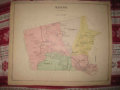Antique 1892 Keene Whole City New Hampshire Handcolored Map & Ward 1 Of City Nr