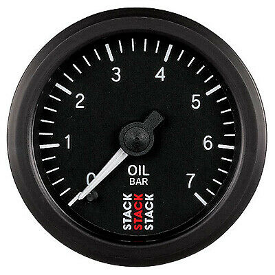 Stack Mechanical Oil Pressure Gauge 0-7 Bar 52mm - Black Dial Face