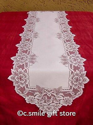 "Heritage Lace *HEIRLOOM* 14"" x 54"" Table Runner Color: White"