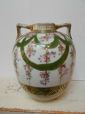 Bulbous Nippon vase, greens & pinks with gold accents