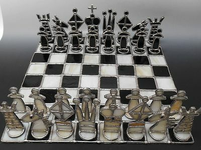 Artist Crafted Stained Glass Chess Set with Board
