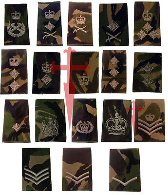 Pair of Official Woodland DPM British Military Rank Slides  ( All Ranks NSN
