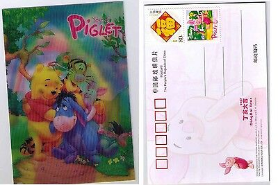 China Pig New Year Year of Piglet Disney Cartoon Winnie 3D Postcard with Stamp