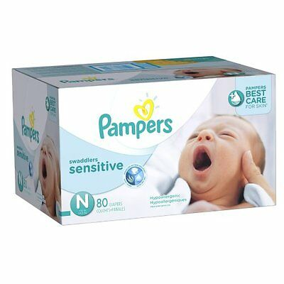 Pampers Swaddlers Sensitive Diapers Size N Super Pack 80 Count