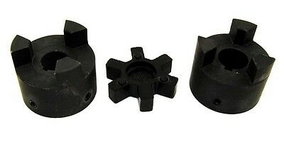 "1"" to 1-1/4"" L100 Flexible 3-Piece L-Jaw Coupling Coupler Set & Rubber Spider"