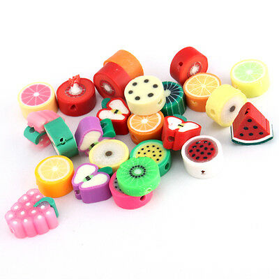 New 100Pcs Mixed Lots Fimo Polymer Clay Fruit Beads 110870