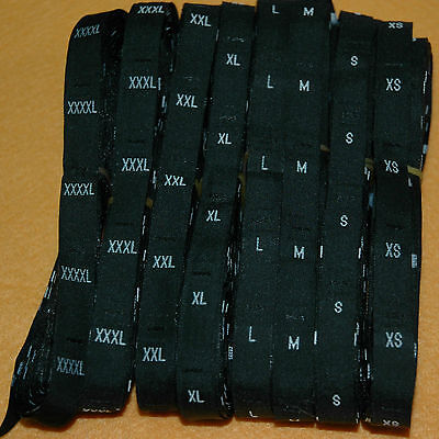 500 Pieces Black Woven Clothing Letter Size Tags Labels Size 4xl Diy Sewing