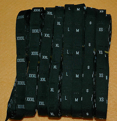 500 Pieces Black Woven Clothing Letter Size Tags Labels Size Xl Diy Sewing