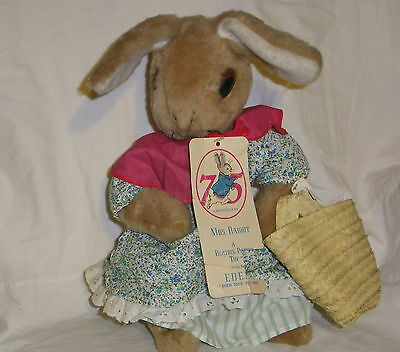 Vtg 75 Anniversary Beatrix Potter Mrs Rabbit Plush Eden Bunny w/Tags Easter gift