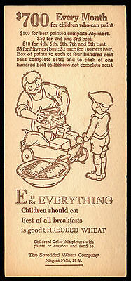 E = EVERYTHING 1929 Shredded Wheat CEREAL PREMIUM CARD Painted Alphabet Contest