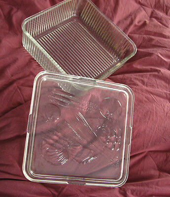 Refrigerator Dish clear embossed Vegetable ribbed design Glass Covered Dish 40's