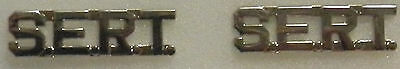 """SERT Silver 3/8"""" Lettering/Letters Pair Collar Pins Rank Insignia (police/fire)"""