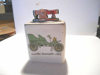 RETRO 1960S NOVELTY JAPANESE PORCELAIN 1908 CADILLAC TABLE PETROL LIGHTER