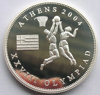 Somalia 2004 Olympics Dollar Silver Coin,Proof