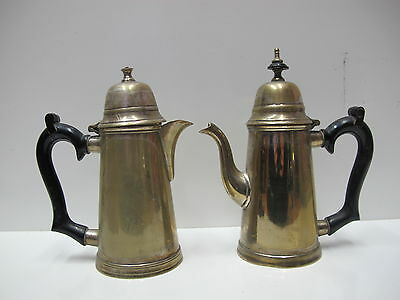 Set of 2 Silver Plate EPNS 043 Tea & Coffee Pot Wooden Handle 1900 circa antique